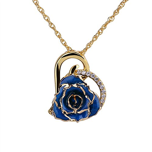 ZJchao 24K Gold Plated Rhinestone Heart Shaped Blue Rose Pendant Necklace for Women