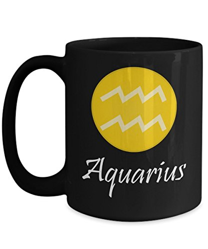 Astrology Gifts For Men - Zodiac Gifts - Best Gifts For Man - Aquarius Coffee Cup - 15 Ounce Black Mug - Aquarius