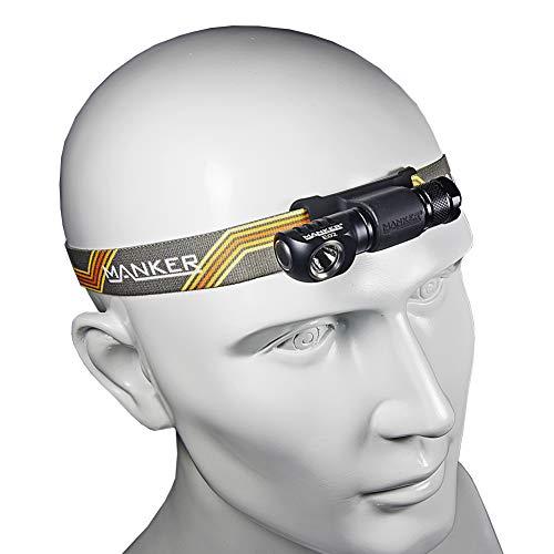 Manker E02H LED Headlamp Flashlight,180Lumen Angle Head light with Headband, Multi Purpose EDC AAA Flashlight w/High CRI Nichia 219C LED, Reversible Clip & Magnet Base (Manker E02H Black Nichia 219C)