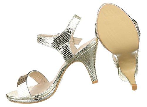 Damen Sandaletten Schuhe Pumps Abendschuhe Elegant Party Club High-Heel Pumps Schwarz Gold silber 36 37 38 39 40 41 Gold