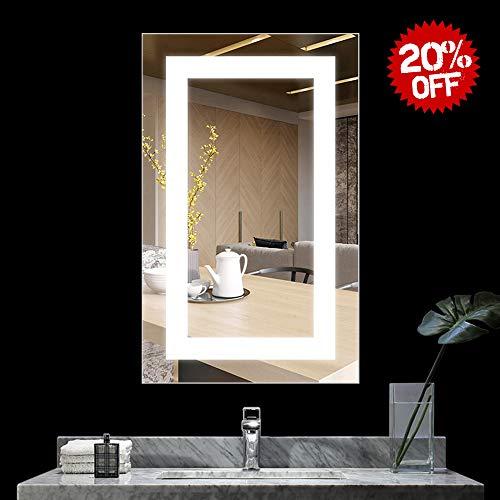 BATH KNOT 20x28 Inch LED Lighted Bathroom Wall Mounted Mirror, Vanity Bathroom - Lights Ip44 Mirrors Bathroom