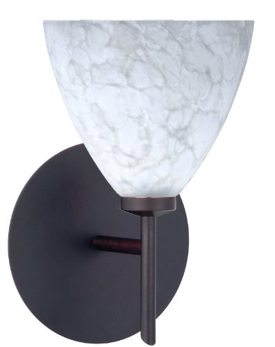 Mia Interior-Only 1 Light Wall Sconce Finish: Bronze, Shade Color: Carrera
