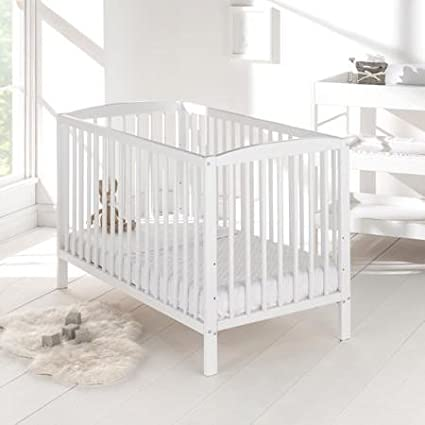 Baby Cot Bed with Deluxe Mattress (White) B4Beds©