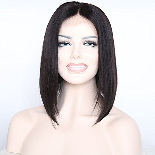 Ten Chopstics Short Bob Human Hair Wigs Lace Front Wigs Silky Straight Full Lace Wigs For Black Women Glueless Baby Hair Natural Cheap Brazilian100%Virgin Bleached Knots Middle Part 12inch