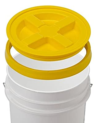 5 Gallon White Bucket With Gamma Seal Lid - 90 Mil, BPA Free, Food Grade Plastic Pail - Gamma2 Screw Seal Tight Lid