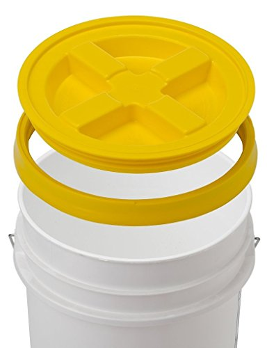 5 Gallon White Bucket & Gamma Seal Lid - Food Grade Plastic Pail & Gamma2 Screw Seal Tight Lid (Yellow) ()