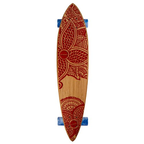 Strght Pin Tail Cruiser Skateboard in Bamboo with Pua Design (Burgundy, 34 x 7.5-Inch)