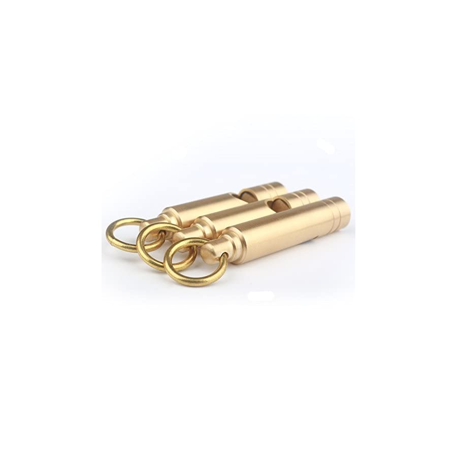 Emergency Hiking Camping Survival Brass Loud Whistle Keychain, Mini Survival Whistle With Key Ring EDC Tools