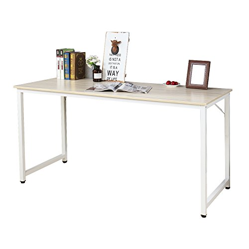 Soges Computer Desk Office Desk Workstation Desk Gaming Table Computer Table, Wood, White Maple 55