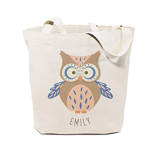 The Cotton & Canvas Co. Personalized Owl Beach, Shopping and Travel Reusable Shoulder Tote and Handbag for Kids, Teens, Adult