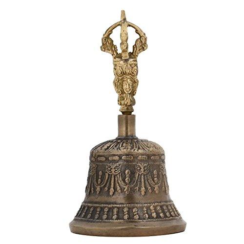 Purpledip Spiritual Buddhist Tibetan Brass Bell with Dorje Handle For Self Healing Meditation Prayer and Yoga, Religious Gift (10680) by Purpledip