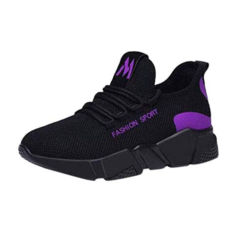 LENXH Women's Sneakers Casual Mesh Shoes with Non-Slip Shoes Lightweight Casual Shoes Solid Color Sneakers Purple (Evh Sneakers)