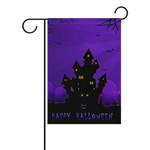 GRAETfpeoglsd Decorative Halloween Night Garden Flags - Weather Resistant & Double Stitched Farm House Small Decor Flags Set for Indoor & Outdoor Decoration, 12 X 18 Inch ()