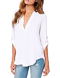 Dokotoo Womens Casual Chiffon Ladies V-Neck Cuffed Sleeve...