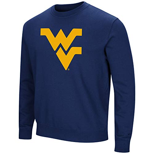 Colosseum NCAA Men's -Playbook- Crewneck Fleece Sweatshirt with Tackle Twill Embroidered Lettering-West Virginia Mountaineers-Blue-Large ()