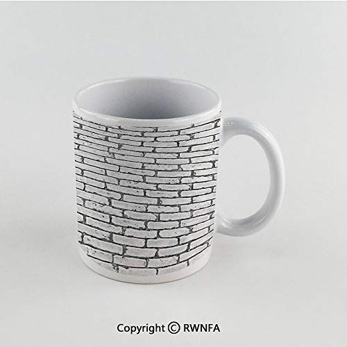 11oz Unique Present Mother Day Personalized Gifts Coffee Mug Tea Cup White Grey and White,Grunge Brick Wall Background Urban Architecture Building Modern City Life Graphic Decorative,Grey Funny Ceram