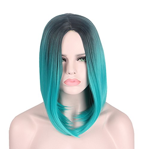 Short Wig Cosplay Wigs for Women for St.Patrick's Day Green Straight Hair for Halloween Costumes - -