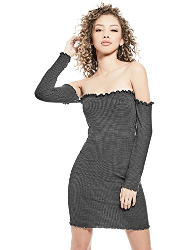 liza Rib Off-The-Shoulder Long Sleeve Ruffle Trim Slip on Dress ()