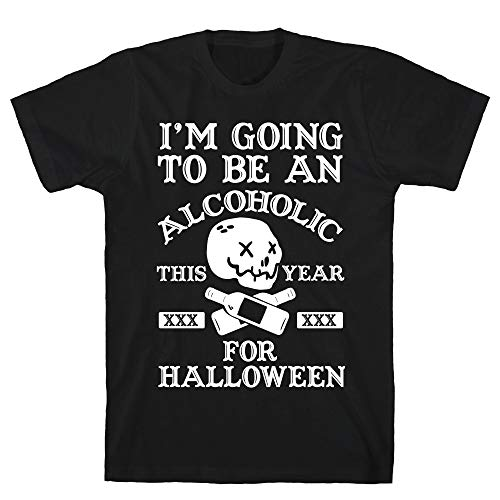 LookHUMAN I'm Going to Be an Alcoholic This Year for Halloween 2X Black Men's Cotton -