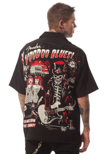 Fender Stratocaster Guitar Blues Zombie Club Shirt, Vince Ray (XL) ()