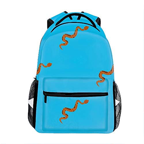 Brown Snake Printed Backpack Durable -