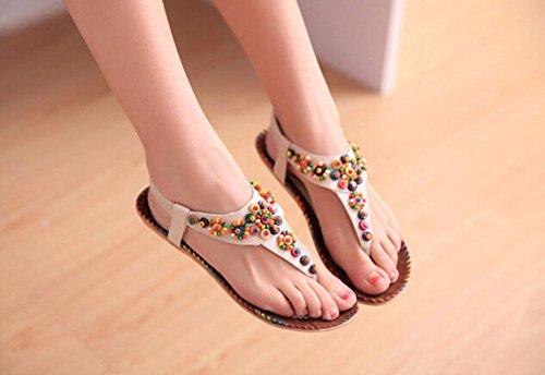 2014 Böhmen-Frauen Sandal Strass Sandals Dame-Sommer-Schuh-Frauen Schuh mit Flachsohle Beige