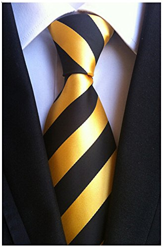 Secdtie Men Classic Striped Black Yellow Jacquard Woven Silk Tie Formal Necktie