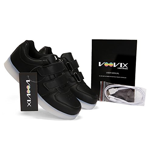 Voovix Kids LED Light up Shoes Lighting Low-Top Sneakers for Boys and Girls(Black,US11/EU29) by Voovix (Image #2)