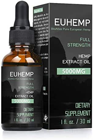 EUHEMP Hemp Oil 5000MG, Full Strength, Made with Hemp Grown in Nature, Non-GMO, No Fillers, Dropper Included, 30ML (5000mg)