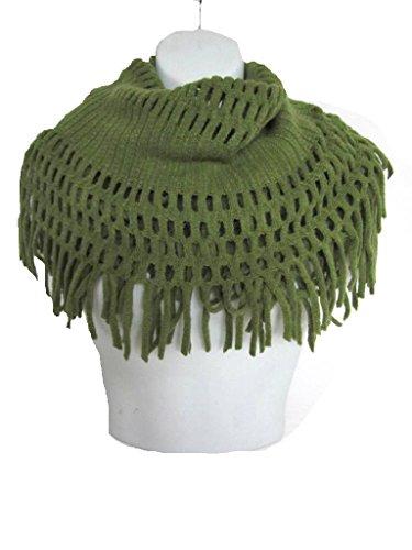 New Design Fringe Knitted Crochet Cutout Infinity Scarf V241 (Green) - Green Crochet Scarf