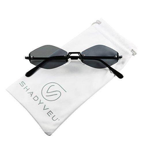 ShadyVEU - Rimless Diamond Shaped Metal Frame Neutral Colors Flat Lens Designer Inspired Sunglasses (Black Frame, Smoke Black Lens) (Inspired Black Sunglasses Frame)