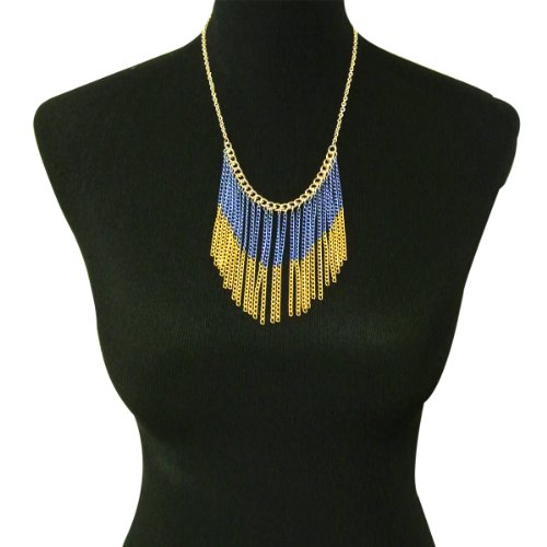 Wrapables Two Toned Chain Waterfall Bib Necklace (Necklace Waterfall Bib)
