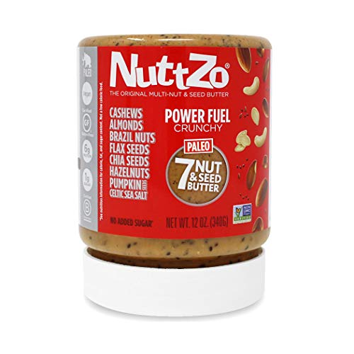 Nuttzo Natural Power Fuel Crunchy Seven Nut and Seed Butter, Peanut Free, 12 oz