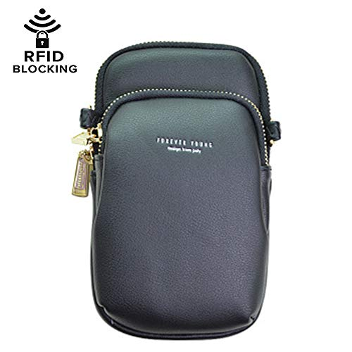 Cell Phone Purse Shoulder Bag for Women Girls Zipper Pocket (Black) ()