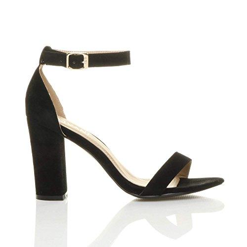 Größe Damen Schuhe Peep Knöchelriemen Hochblockabsatz Riemchen Toe Schwarz Sandalen Wildleder wrrq0If