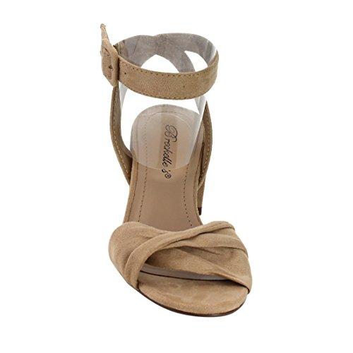 Breckelles Women Twisted Band Sandalo Con Tacco Grosso - Elegante, Formale, Versatile - Cinturino Alla Caviglia - Gg66 By Natural