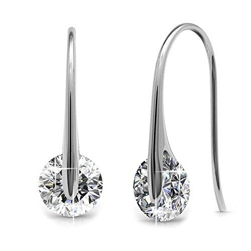 or Women Dangle Drop Earrings Swarovski Round Cut 0.85 Carat Clear Crystals 6mm Brass Hook Earrings (Brass And Bead Earrings)