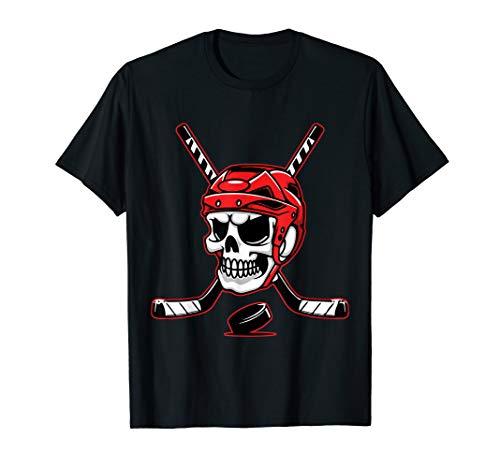 Skeleton Ice Hockey Puck Skull With Hockey Stick Halloween T-Shirt