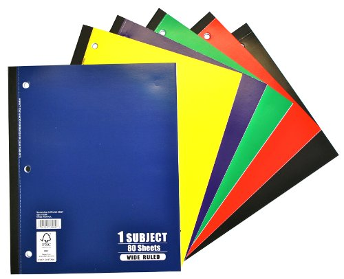"Norcom 76080-24 10.5"" X 8.5"" 80 Sheets 1 Subject Wide Ruled"