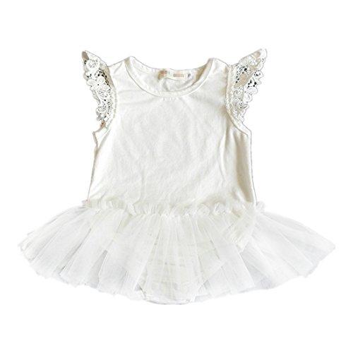 Infant Baby Girls Black Dress Cute Lace Pettiskirt Tutu Romper (9-12m, White)