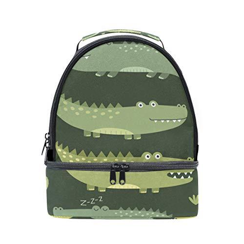 para color correa cocodrilo verde de hombro de para con pincnic de la Alinlo almuerzo con ajustable con diseño escuela aislamiento Bolsa el qn66g0S