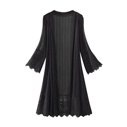 iYBUIA Fashion Solid Casual Women Long Sleeve Lace Top Blouse T-Shirt Smock(Black,XXL) from iYBUA