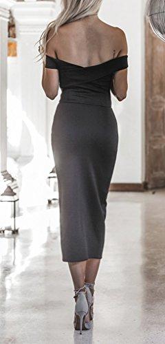 Spalla Blansdi Clubwear Fuori Midi Backless Donne Nero Fasciatura Dalla Vestito Di Spaccato Partito Bodycon Del Di dOqtn65w