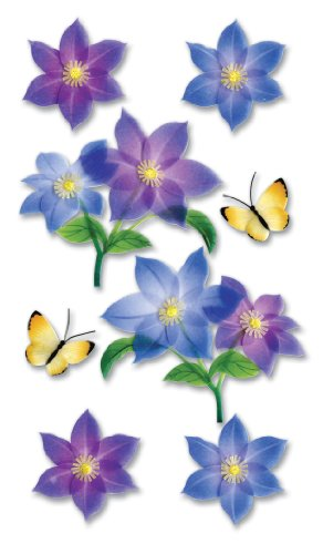 Purple Flowers Sticker - Jolee's Boutique Vellum Layered Dimensional Stickers, Purple Flowers