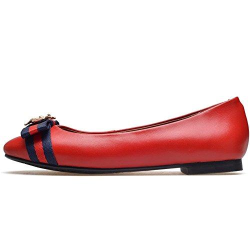 Nine Seven Cuero Moda Puntera Redonda Bailarinas Planos Cómodos con Lazo de Vestir para Mujer Rojo