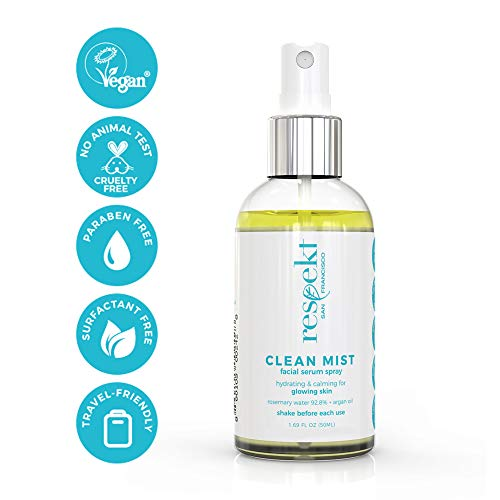 CLEAN MIST: Organic Facial Toner Spray & Makeup Fixer | 92.8% Rosemary Water + Argan Oil, Vegan, Cruelty Free, Surfactant free. 50ml (Rosemary + Argan Oil)