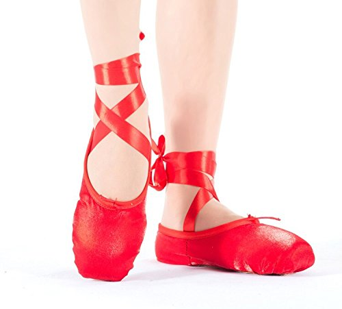 Ballet Pointe Dance Shoes with Ribbons Size 6 Us