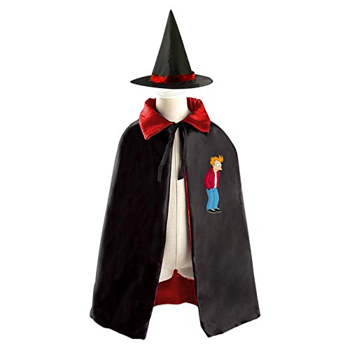 [Kids Wizard Witch Costume Set Philip J.Fry Cosplay Party Reversible Cape With Hat] (Fry Futurama Costumes)