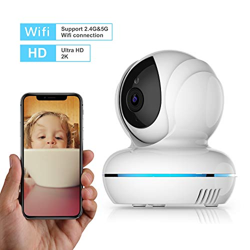 (UltraHD 2K Indoor IP Camera, Wonbo Wireless Security Camera Pan/Tilt/Zoom Surveillance System 2.4G & 5G WiFi Dome Camera with Night Vision, Two-Way Audio, Remote Monitor for Baby/Elder/Pet/Nanny)