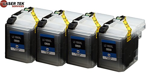 4 Pack - Laser Tek Services® Compatible Brother LC109BK HIGH YIELD Replacement Black Ink Cartridges for the Brother: MFC-J6520DW, MFC-J6720DW, MFC-J6920DW. Page Yield: 2,400 pages at 5% page coverage per page. (4 XL Black)